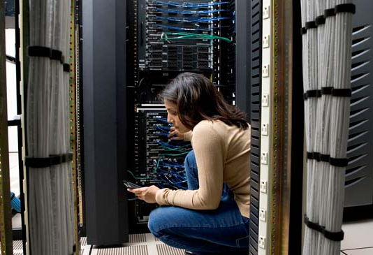 woman working on network in lab server configuration